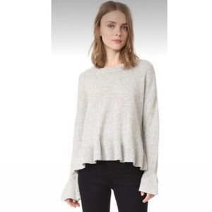NWT Cinq à Sept Women's Seren Pullover Wool Ribbed Knit Sweater in Ivory Large